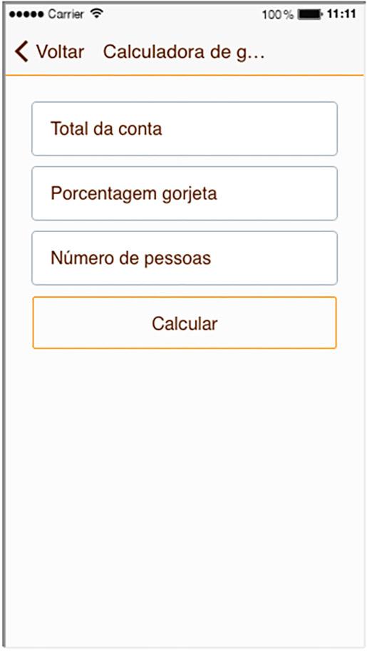 Aplicativo para Celular Recursos Calculadora de Gorjetas